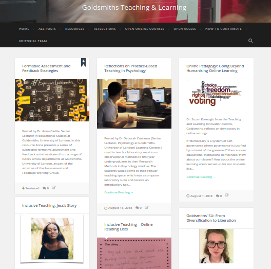 Goldsmiths Teaching and Learning website
