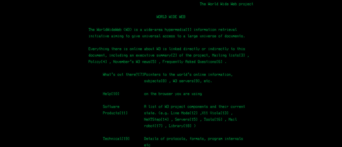 Screenshot of The World Wide Web project